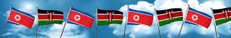 Bandera de Corea del Norte con la bandera de Kenia, 3D