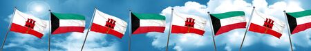 gibraltar flag with Kuwait flag, 3D rendering Stock Photo