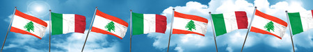 Lebanon flag with Italy flag, 3D rendering