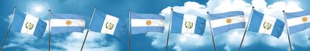 guatemala flag with Argentine flag, 3D rendering