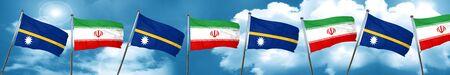 Nauru flag with Iran flag, 3D rendering
