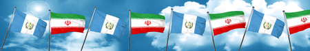 guatemala flag with Iran flag, 3D rendering