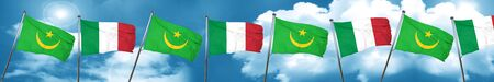 Mauritania flag with Italy flag, 3D rendering