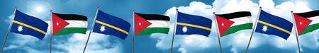 Nauru flag with Jordan flag, 3D rendering Stock Photo