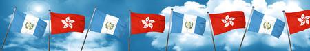 bandera de guatemala: guatemala flag with Hong Kong flag, 3D rendering