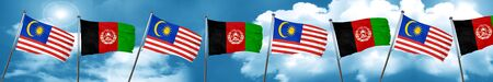 Malaysia flag with afghanistan flag, 3D rendering Foto de archivo