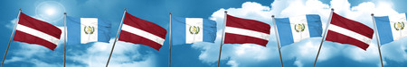 Latvia flag with Guatemala flag, 3D rendering Stock Photo