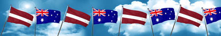 Latvia flag with Australia flag, 3D rendering