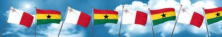 ghanese: Malta flag with Ghana flag, 3D rendering
