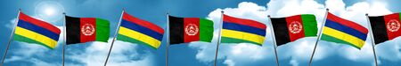 Mauritius flag with afghanistan flag, 3D rendering