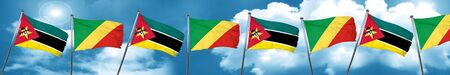 Mozambique flag with congo flag, 3D rendering
