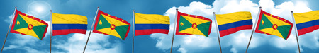 grenada: Grenada flag with Colombia flag, 3D rendering Stock Photo