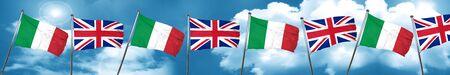bandera de gran bretaña: Italy flag with Great Britain flag, 3D rendering Foto de archivo