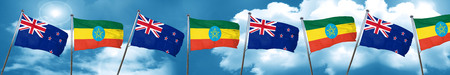 Bandera de Nueva Zelanda con bandera de Etiopía, 3D