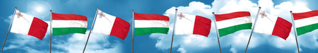 Malta flag with Hungary flag, 3D rendering Stock Photo