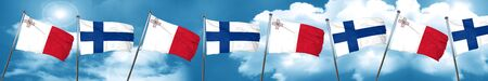 Malta flag with Finland flag, 3D rendering