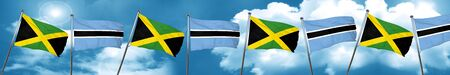 jamaican: Jamaica flag with Botswana flag, 3D rendering