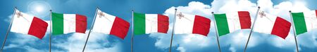 combines: Malta flag with Italy flag, 3D rendering Foto de archivo