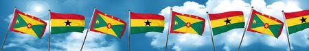 ghanese: Grenada flag with Ghana flag, 3D rendering Stock Photo