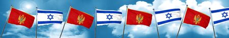 Montenegro flag with Israel flag, 3D rendering
