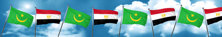 Mauritania flag with egypt flag, 3D rendering