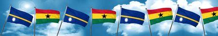 Nauru flag with Ghana flag, 3D rendering