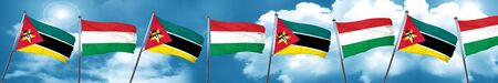 Mozambique flag with Hungary flag, 3D rendering Stock Photo