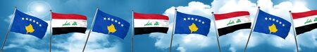 iraq flag: Kosovo flag with Iraq flag, 3D rendering Stock Photo