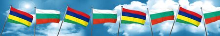 bulgarian: Mauritius flag with Bulgaria flag, 3D rendering