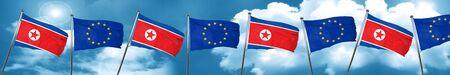 North Korea flag with european union flag, 3D rendering