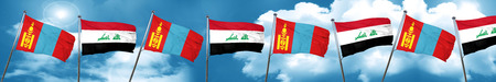 Mongolia flag with Iraq flag, 3D rendering Stock Photo
