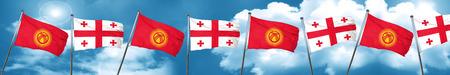 georgian: Kyrgyzstan flag with Georgia flag, 3D rendering Stock Photo