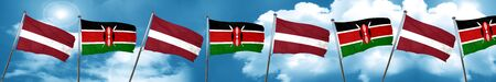 Latvia flag with Kenya flag, 3D rendering Stock Photo