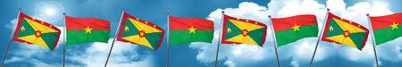 Grenada flag with Burkina Faso flag, 3D rendering Stock Photo