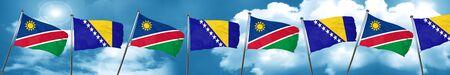 Namibia flag with Bosnia and Herzegovina flag, 3D rendering Stock Photo