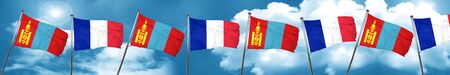 french culture: Mongolia flag with France flag, 3D rendering