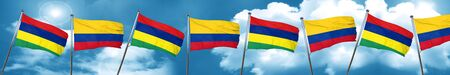 Mauritius flag with Colombia flag, 3D rendering