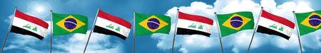 iraq flag: Iraq flag with Brazil flag, 3D rendering