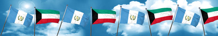guatemala flag with Kuwait flag, 3D rendering