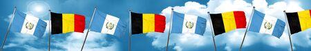 bandera de guatemala: guatemala flag with Belgium flag, 3D rendering Foto de archivo