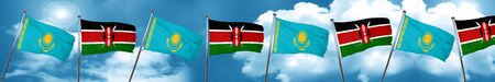 Kazakhstan flag with Kenya flag, 3D rendering