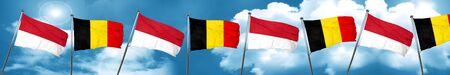 combines: Bandera de Indonesia con la bandera de Bélgica, 3D