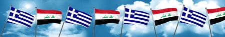 Greece flag with Iraq flag, 3D rendering