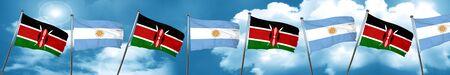 Kenya flag with Argentine flag, 3D rendering