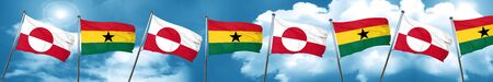 greenland flag with Ghana flag, 3D rendering Stock Photo