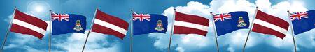 Latvia flag with Cayman islands flag, 3D rendering