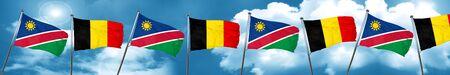 Bandera de Namibia con la bandera de Bélgica, 3D Foto de archivo