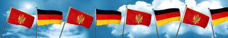 combines: Bandera de Montenegro con la bandera de Alemania, representación 3D