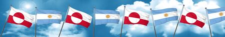 greenland flag with Argentine flag, 3D rendering