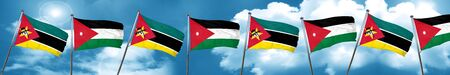 Mozambique flag with Jordan flag, 3D rendering